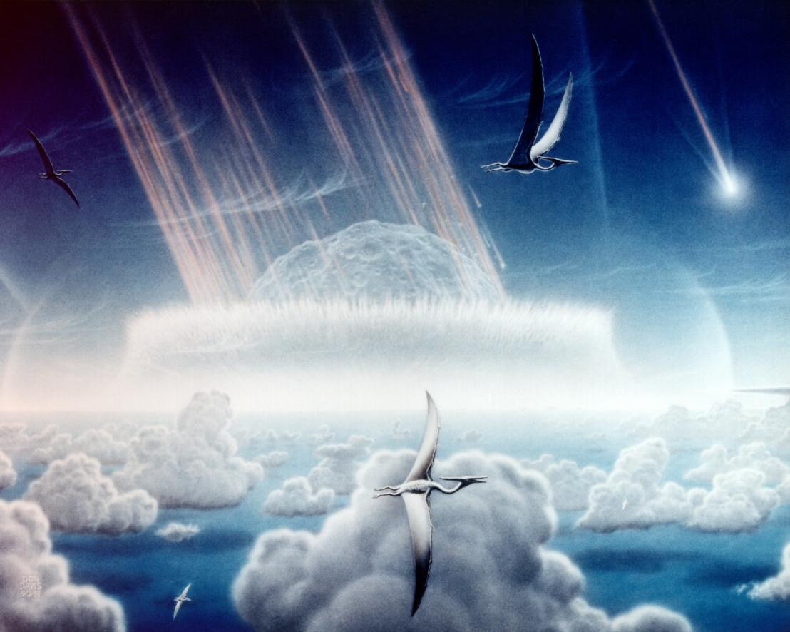 This painting by Donald E. Davis depicts an asteroid slamming into tropical, shallow seas of the sulfur-rich Yucatan Peninsula in what is today southeast Mexico.